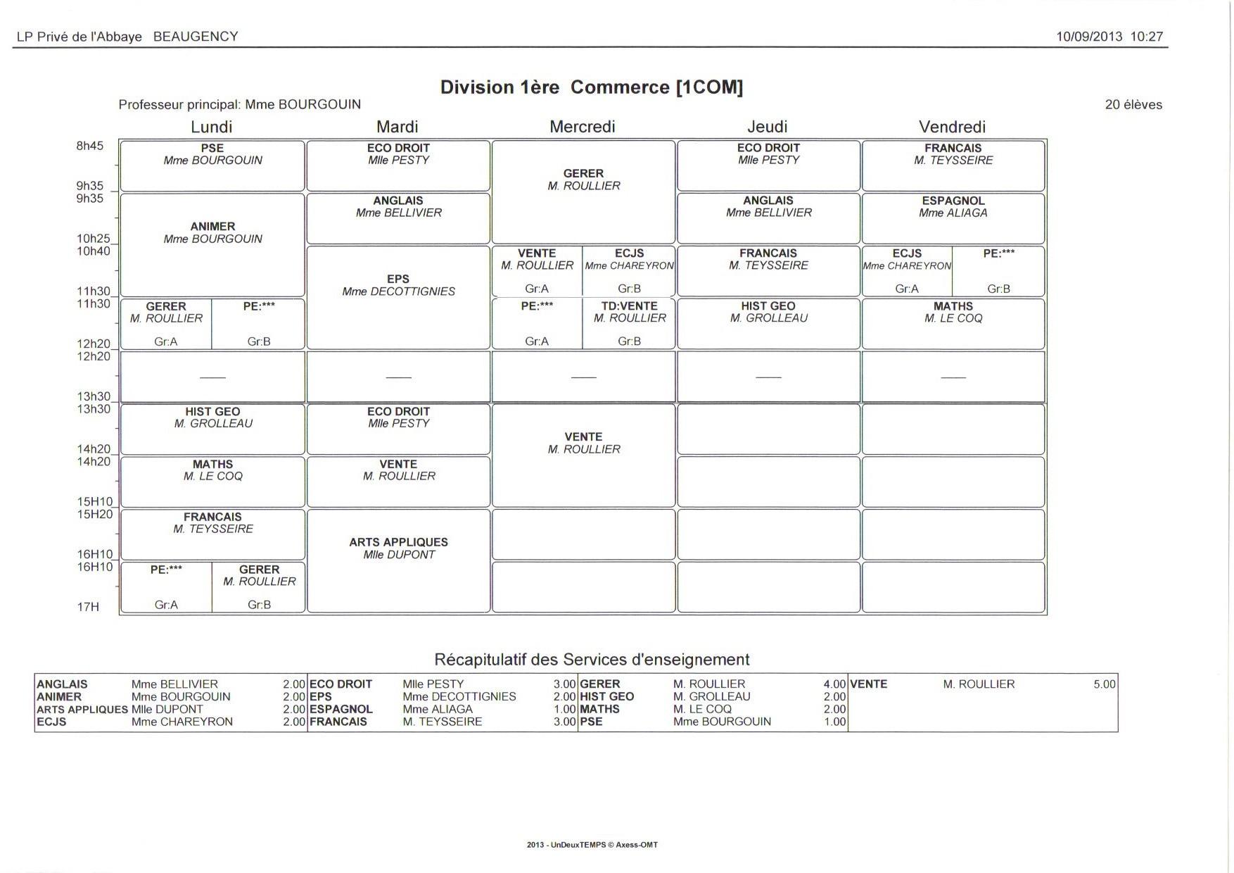 EDT - 1ère BAC PRO COMMERCE