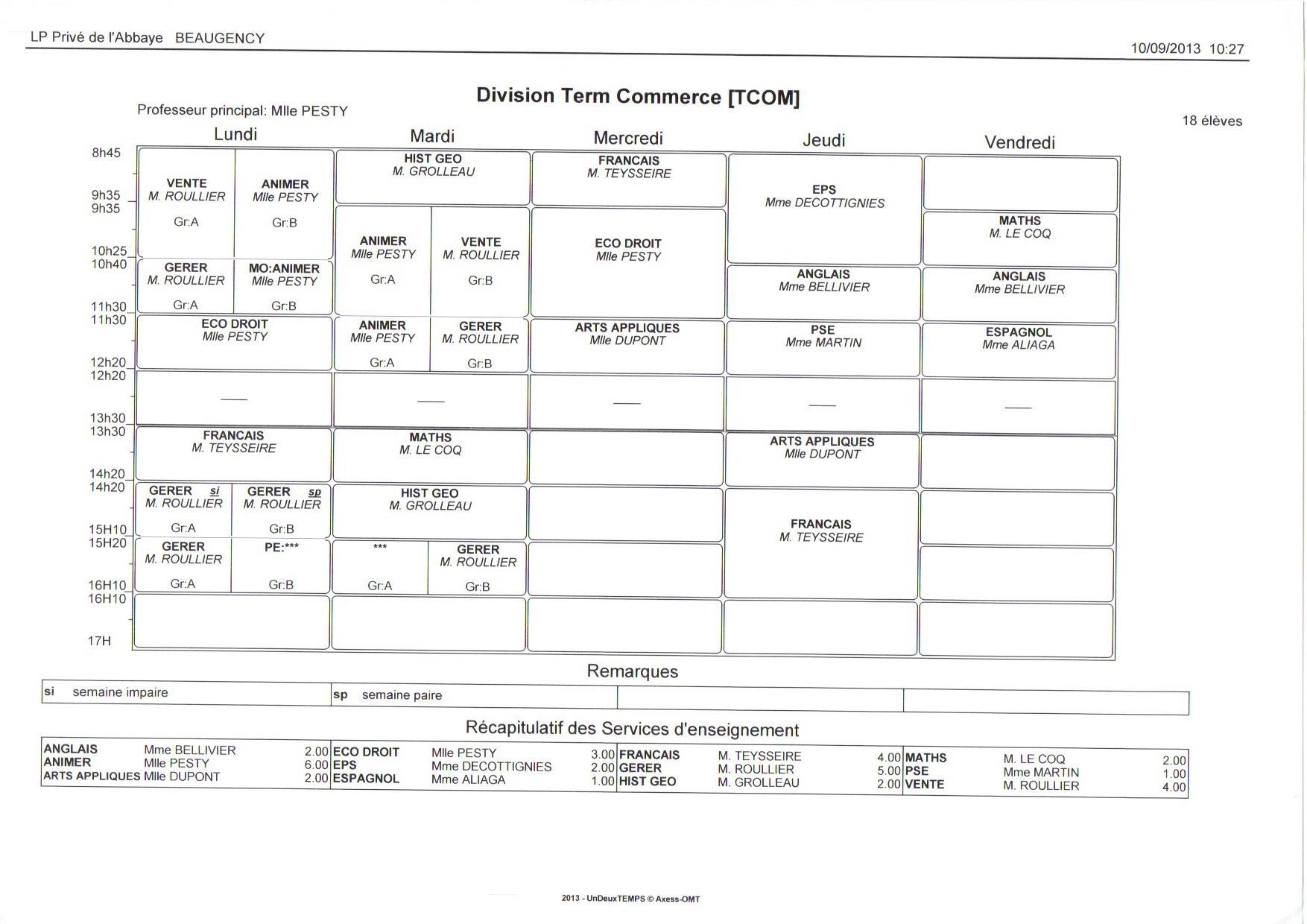 EDT - Terminale BAC PRO COMMERCE